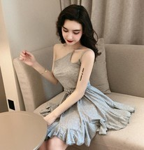 Solid color sexy off-the-shoulder personality unilateral sling skater dress image 8