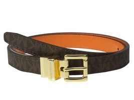 Michael Kors Women's 20MM Reversible Mk Logo Pvc Belt Brown Orange 551507