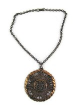 "Vintage Copper Royal Crest Medallion Necklace Chain 2 5/8"" Diameter Jewelry - $19.79"