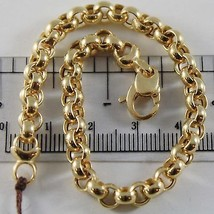 18K YELLOW GOLD BRACELET 7.9 IN, BIG ROUND CIRCLE ROLO MESH 5.5 MM MADE IN ITALY