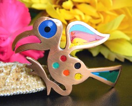 Vintage Bird Brooch Pin Colorful Enamel Copper Abstract Peruvian Peru - $22.95