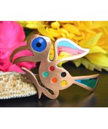 Vintage Bird Brooch Pin Colorful Enamel Copper Abstract Peruvian Peru - £17.55 GBP