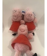 Set of 3 Peppa Pig 8 Inch Plush In Red Dress By Fiesta New A21EF - $11.95