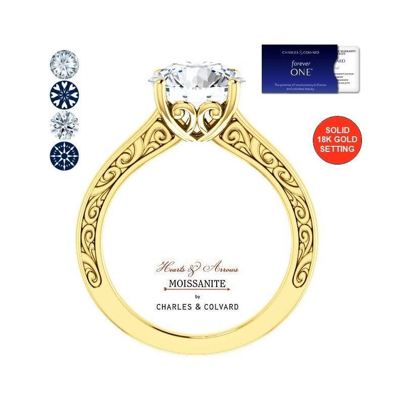 3.00 Carat (9mm) Forever One Moissanite Hearts & Arrows Ring 18K Charles&Colvard