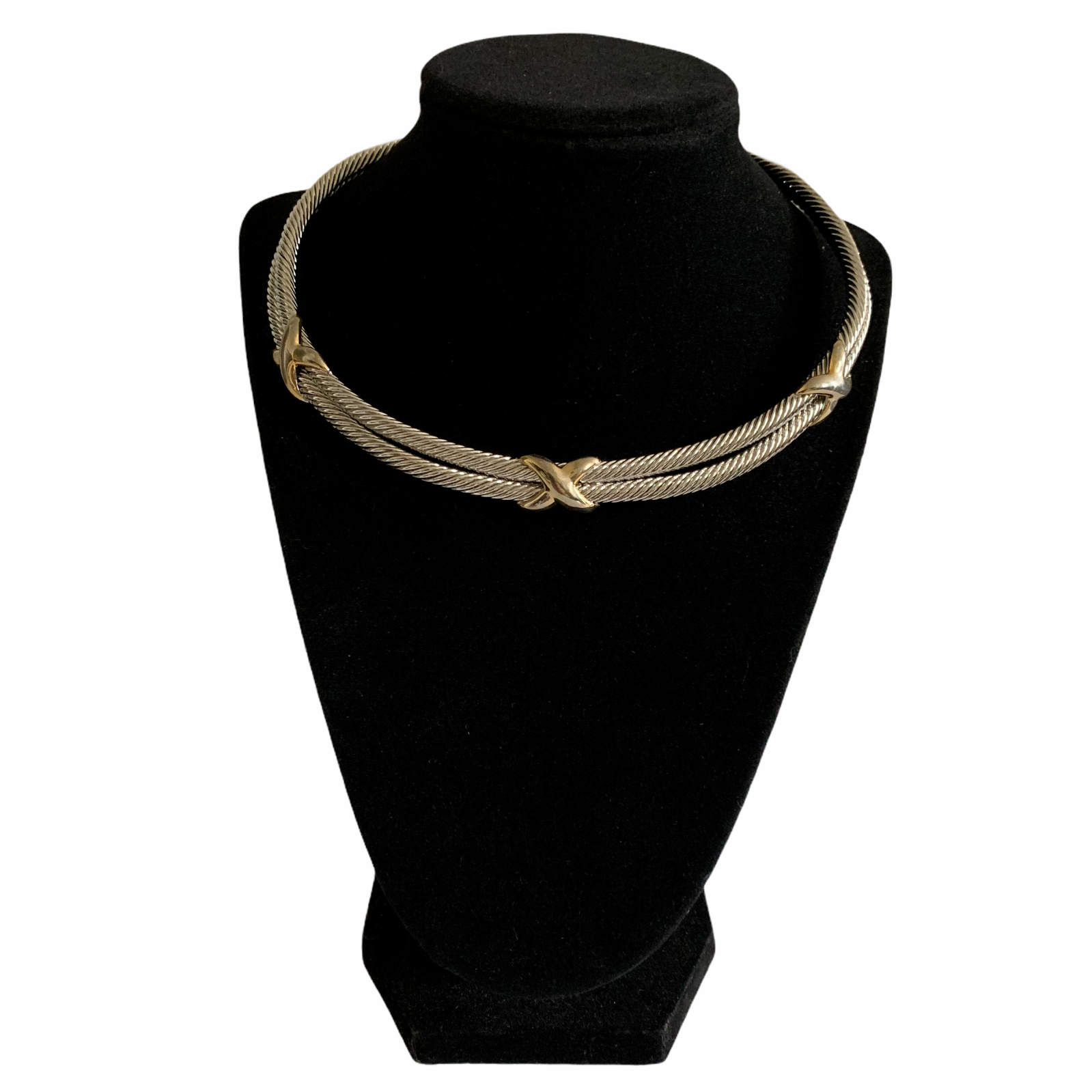 Vintage Gold Tone X Collar Necklace Silver Tone Double Cable Choker Necklace - $32.51