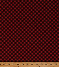 Flannel Red And Black Diagonal Checkered Christmas Flannel Fabric BTY M284.30 - $12.49