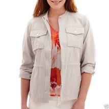 Liz Claiborne Safari Cropped Band Collar Anorak Jacket Size S New $60.00  - $21.99