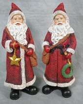 "Set of 2 Christmas Burlap Look Hand painted Santas Poly Resin 9.5"" Tall New - $21.77"