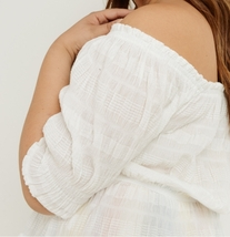 Plus Off Shoulder Top, Cotton Stretch Top, Off Shoulder Plus Size, Ivory image 4