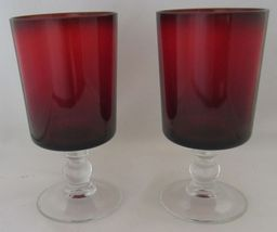 2X Arcoroc Luminarc Ruby Red Clear Ball Stem Water Wine Goblets - $15.99