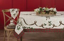 Lenox Damask Tartan Tablecloth Christmas Holiday Melody Holly Berry 60x8... - $67.22+