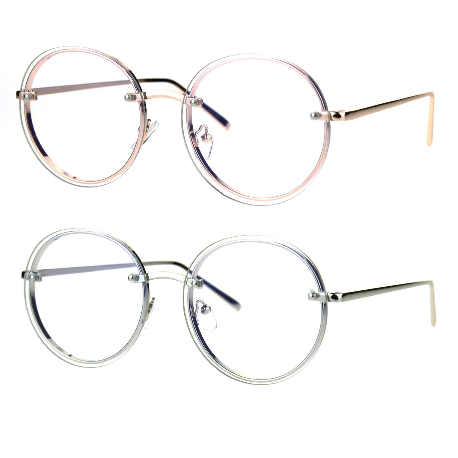 27bb156cec Retro Old School Rimless Clear Lens Round and 50 similar items. S l1600