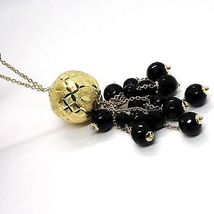 Silver necklace 925, Yellow, Large Machined Ball, BLACK ONYX Waterfall image 3
