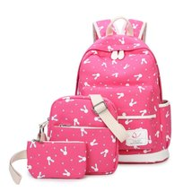 3Pcs Lightweight Canvas Laptop Backpack Cute School Bag Casual Bookbag for Girls - $32.99