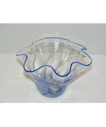 2002 SIGNED HAND BLOWN WAVE RUFFLE CLEAR GLASS BOWL GUC - $54.99