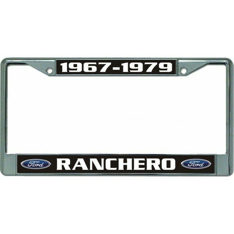 ford ranchero 1967-1979 auto car logo chrome license plate usa made - $28.49