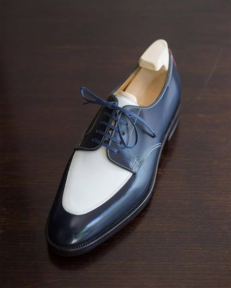 Handmade Men's Two Tone White And Blue Leather Lace Up Shoes