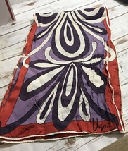 "Vintage vera red purple rectangle scarf 11 x 42"" - $14.80"