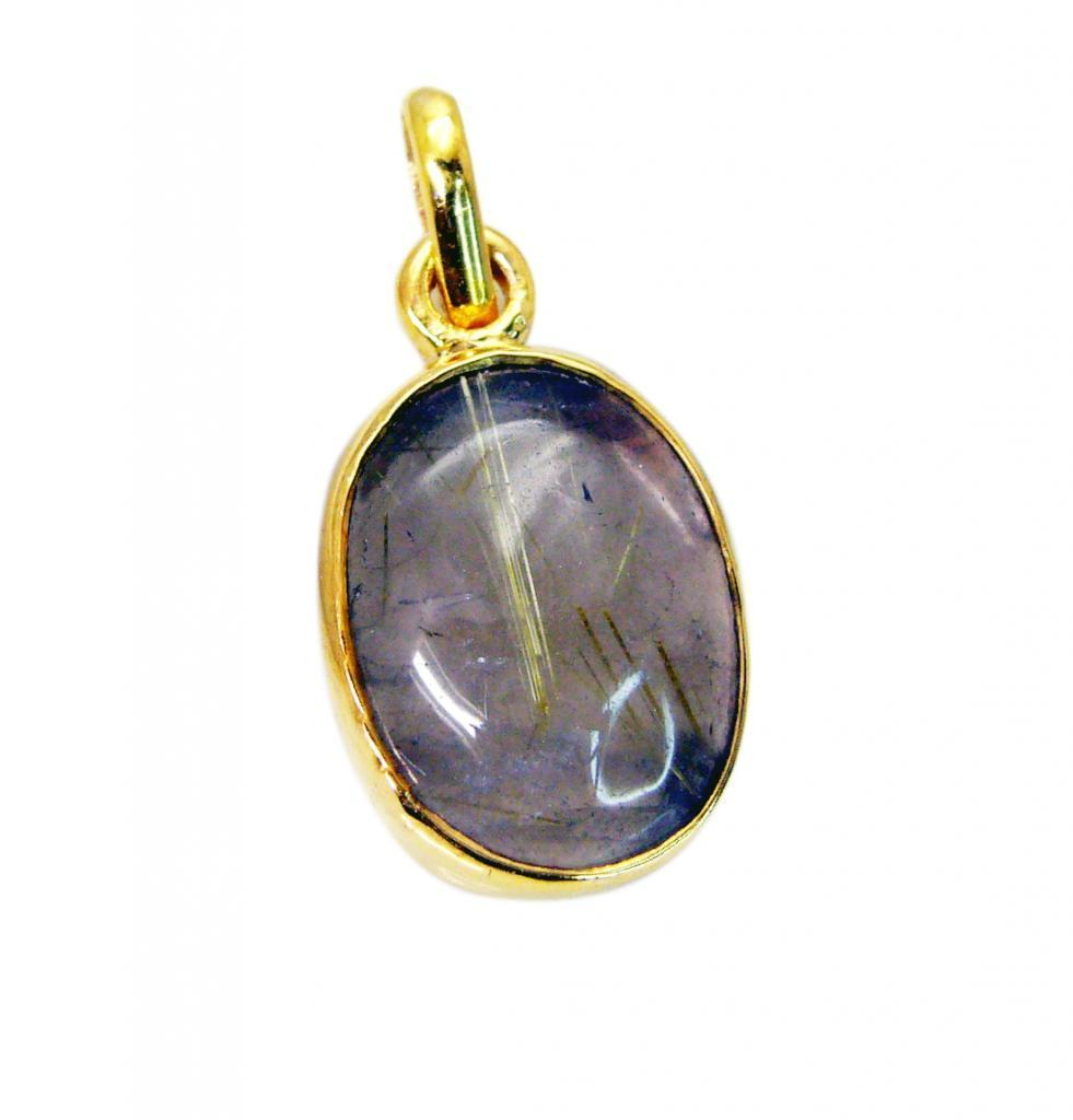 Fashion Gold Plated Rutile Quartz Gemstone Pendant Jewelry FFU23JJP101