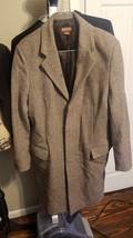 Michael Kors Mens Brown Wool Signature Trenchcoat Jacket Coat LARGE Wint... - $49.49