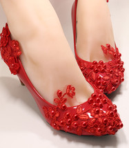 Red Lace Wedding Low Heel Shoes Red Bridal Heel Shoe Red Wedding UK Size 3,4,5,6 - $38.00