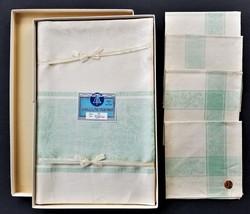"antique LINEN belgium DAMASK white green TABLECLOTH 52""x52"" with 4 NAPKI... - $89.95"