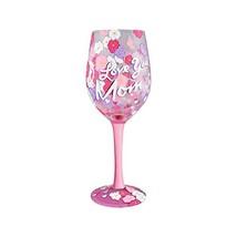 Enesco 4057886 Wine Glass I love You Mom, Multicolor - $25.75