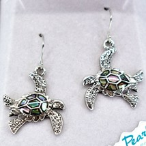 A.T. Storrs Wild Pearle Abalone Shell Swimming Sea Turtle Hook Earrings image 2
