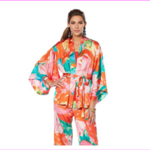Lots of 3 N Natori Printed Silky Satin Tie Belted Topper Paradise Multi Size L - $84.15