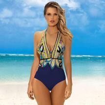 Women's Designer V- Neck Tummy Control Halter One Piece Swimsuit image 9