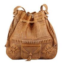 Moroccan Boho Leather Bag, Satchel Bag, Leather Handbag, Leather Boho Bag - £39.52 GBP