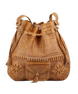 Moroccan Boho Leather Bag, Satchel Bag, Leather Handbag, Leather Boho Bag - $54.95