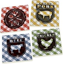 Barbeque on Gingham 4 Piece Square Ceramic Coaster Set