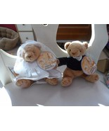 "Cherished Teddies bride and groom plush bears 6.5"" - $12.00"