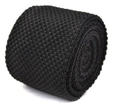 Frederick Thomas plain black knitted tie with pointed end