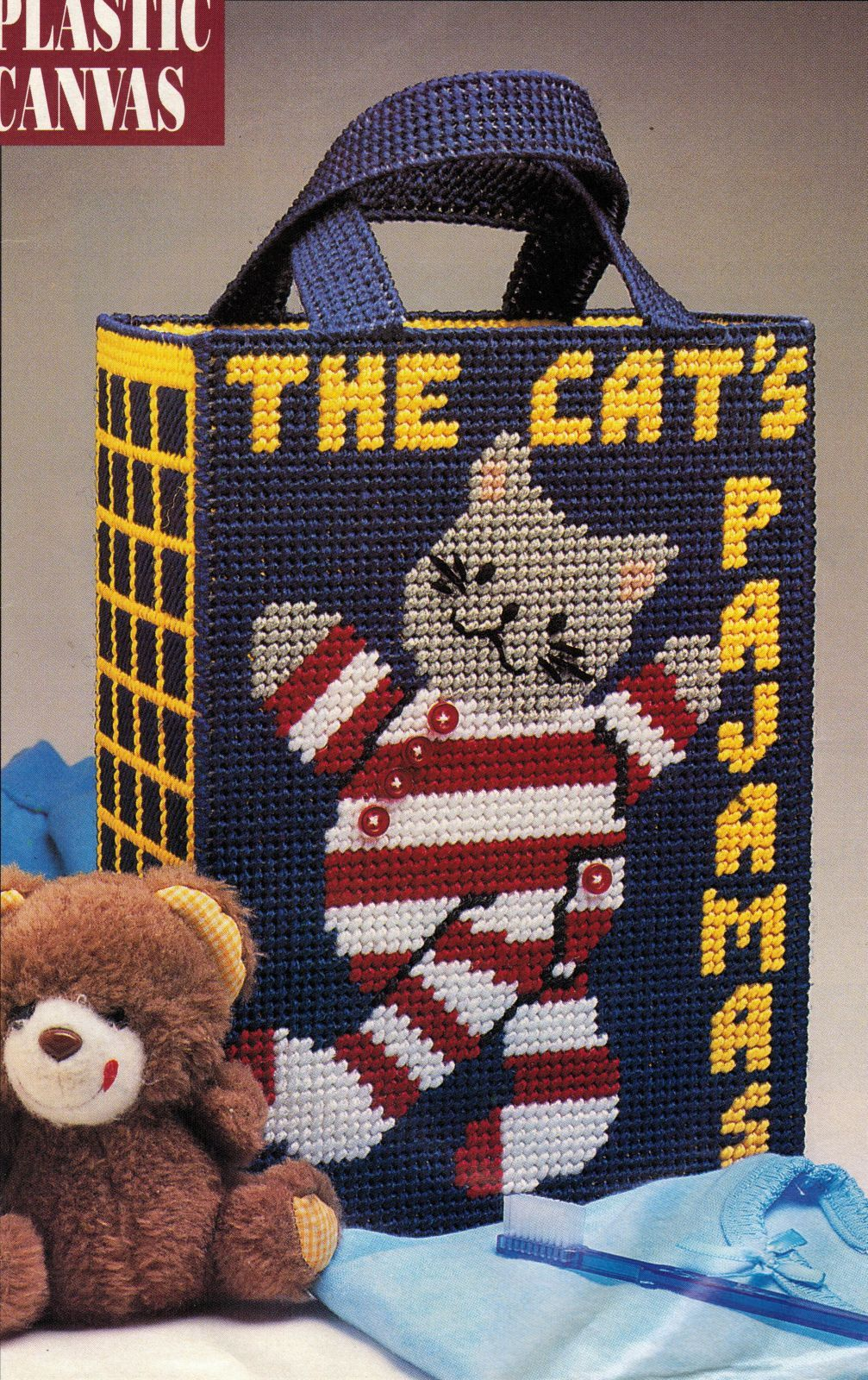 Primary image for Plastic Canvas Cats Window Pajama Bag Catchall Basket Letter Holder Pattern