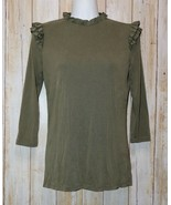 Womens Olive Green Bohme 3/4 Sleeve Shirt Size Small NWT NEW - $14.84
