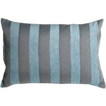 Pillow Decor - Brackendale Stripes Sea Blue Rectangular Throw Pillow 16x24 - $49.95