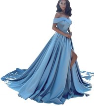 A line Princess Long Train Light Blue Satin Prom Dresses with Slit Formal Gown - $149.00