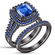 14k Black Gold Over 925 Sterling Silver Blue Sapphire Womens Engagement Ring Set - $118.99