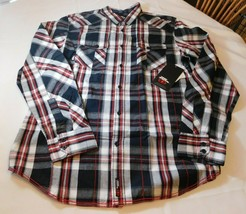 No Fear Men's Long Sleeve Button Up Shirt Size L large Black White Red P... - $26.99