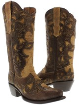 Womens Sand Brown Overlay Distressed Real Leather Western Cowgirl Boots ... - €148,34 EUR