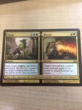 MTG FLESH BLOOD 1x x1 DRAGON'S MAZE RARE MAGIC GATHERING CARD GOLD SPLIT... - $0.75