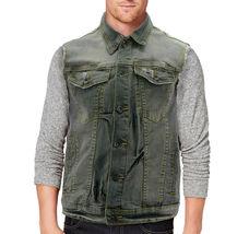 CS Men's Ripped Distressed Button Up Denim Jean Vest Removable Hood Slim Fit image 13