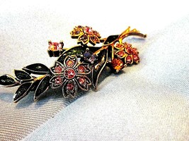 Vintage LOVELY   Spring FLORAL SPRAY pin, gold color ,enamel and rhinestone - $15.00