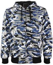 vkwear Men's Athletic Soft Sherpa Lined Slim Fit Camo Zip Hoodie Jacket image 2