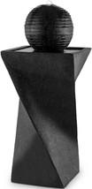 Outdoor Water Fountain Waterfall Black Pedestal Birdbath Solar LED Light... - $196.36