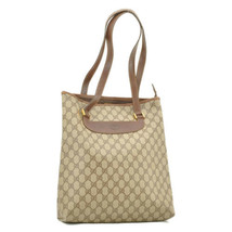 GUCCI GG Canvas Tote Bag Brown PVC Leather Auth 9065 - $180.00
