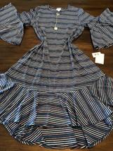 NWT Lularoe XL Maurine Flouncy Long Sherbet Rainbow Striped Dress Kimono... - $48.99