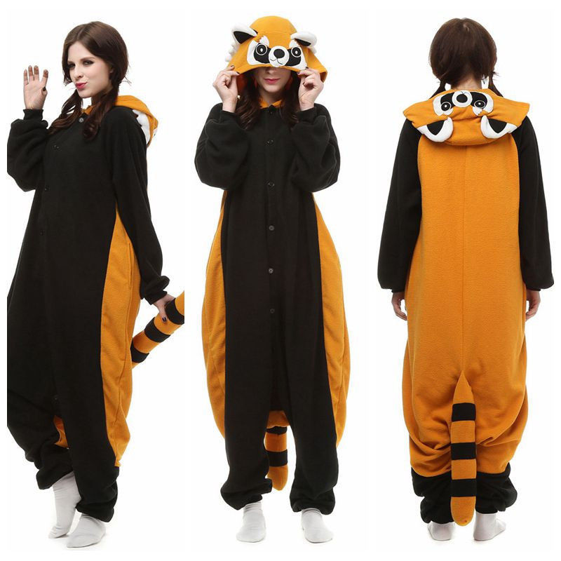 Xmas Raccoon Cosplay Pyjamas Costume Hoodies Animal Adult Onesie Unisex Dress for sale  USA